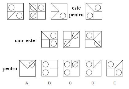 Test de abilitati in spatiu<br /> Citeste cu atentie instructiunile si studiaza cu atentie diagramele.<br /> Primul grup de trei patrate este pentru cel de al patrulea cum este cel de al doilea grup de patrate pentru unul din cele cele cinci afisate mai jos. Selectati patratul care credeti ca se potriveste pozitiei.