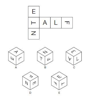 Test de abilitati in spatiu<br /> Citeste cu atentie instructiunile si studiaza cu atentie diagramele.<br /> Cand forma de mai sus este impaturita pentru a forma un cub, care din urmatoarele cuburi rezulta?