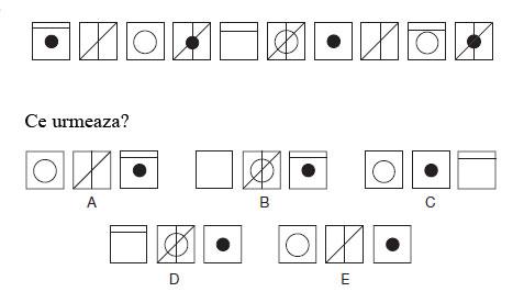 Test de abilitati in spatiu<br /> Citeste cu atentie instructiunile si studiaza cu atentie diagramele.<br /> Care este piesa care urmeaza?