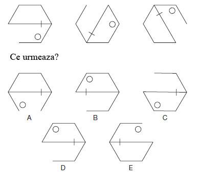 Test de abilitati in spatiu<br /> Citeste cu atentie instructiunile si studiaza cu atentie diagramele.<br /> Care este figura care urmeaza?